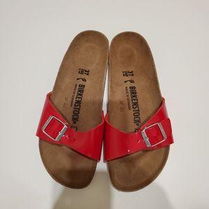 Birkenstock Madrid Patent Red Sandals size 37 6